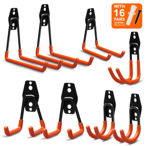 EletecPro 8 Pack Garage Wall Hooks,Steel Multi-Size Extended U-Hook for Heavy Duty Garage Storage Organizers,Bicycle Hanger Utility Hooks with Screws and Wall Anchors (8 PCS Multi-Size Set)