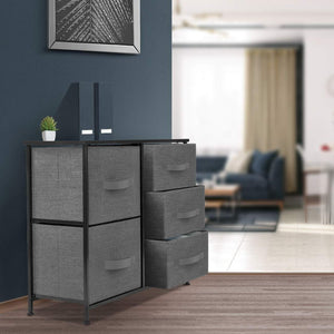 Home sorbus dresser with 5 drawers furniture storage tower unit for bedroom hallway closet office organization steel frame wood top easy pull fabric bins black charcoal