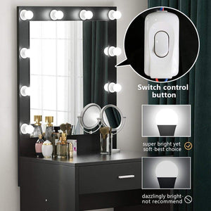Cheap tribesigns vanity set with lighted mirror makeup vanity dressing table dresser desk with large drawer for bedroom black 10 cool led bulbs
