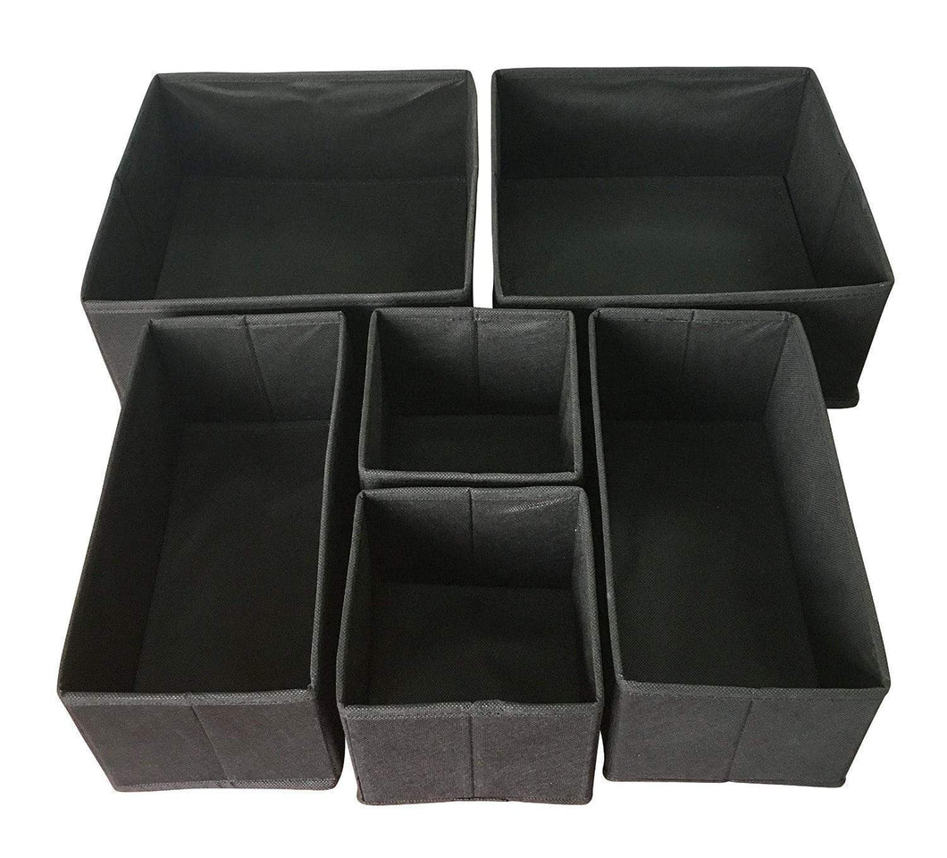 Featured sodynee foldable cloth storage box closet dresser drawer organizer cube basket bins containers divider with drawers for underwear bras socks ties scarves 6 pack black