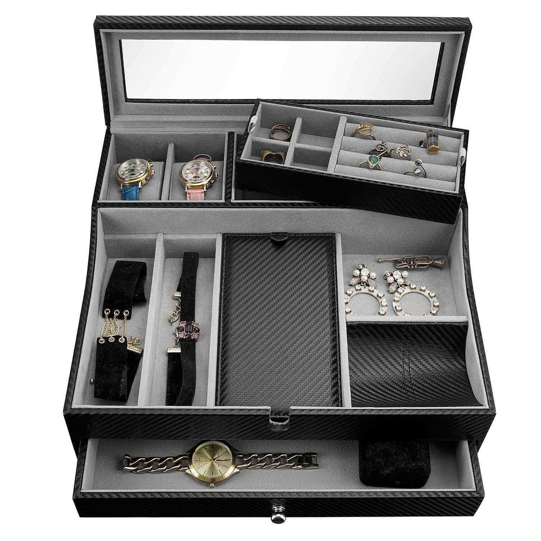 Related jewelry valet tray for men sleek dresser organizer box for storage display perfect for phone watches sunglasses jewelry wallet rings necklace more carbon fiber faux leather