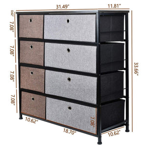 Shop here extra wide fabric storage organizer mixed colors clothes drawer dresser with sturdy steel frame wooden tabletop easy pull fabric bins organizer unit for bedroom hallway entryway closet 8drawers