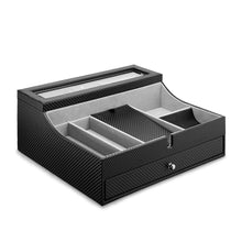 Results jewelry valet tray for men sleek dresser organizer box for storage display perfect for phone watches sunglasses jewelry wallet rings necklace more carbon fiber faux leather