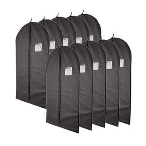 "Plixio 40"" Black Garment Bags for Clothing Storage of Suits, Dresses & Dance Costumes-Includes Zipper & Transparent Window (10 Pack) (Renewed)"