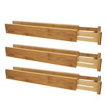 Storage bamboo adjustable drawer divider organizers spring loaded stackable perfect for kitchen utensils silverware knife drawer dividers desk bathroom and dresser drawer organization 6 pack