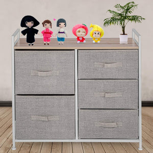 Best seller  happybuy 5 drawer storage organizer unit with fabric bins bedroom play room entryway hallway closets steel frame mdf top dresser storage tower fabric cube dresser chest cabinet beige tall