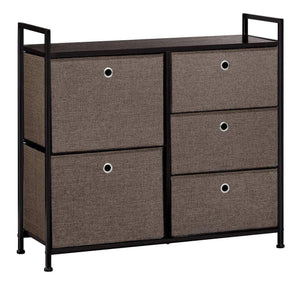 Latest langria faux linen wide dresser storage tower with 5 easy pull drawer and handles sturdy metal frame and wooden table organizer unit for guest dorm room closet hallway office area dark brown