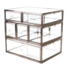 Featured hersoo large antique mirror glass makeup organizer jewelry cosmetic display stackable dresser storage for vanity with lid dustproof beauty accent home decorative box drawerset br