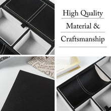The best flsh valet tray nightstand desktop organizer pu leather catchall dresser tray with charging station for ring wallet watch coin black