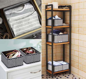 Buy now ilauke drawer underwear organizers storage box foldable closet dresser drawers divider organizer fabric cloth basket bins for sock bras baby clothes set of 8 grey