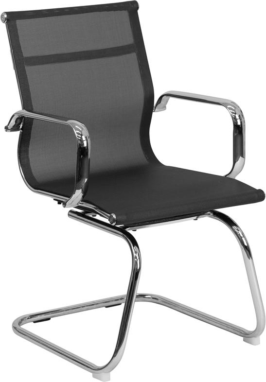 Commercial Grade Transparent Black Mesh Side Reception Chair with Chrome Sled Base