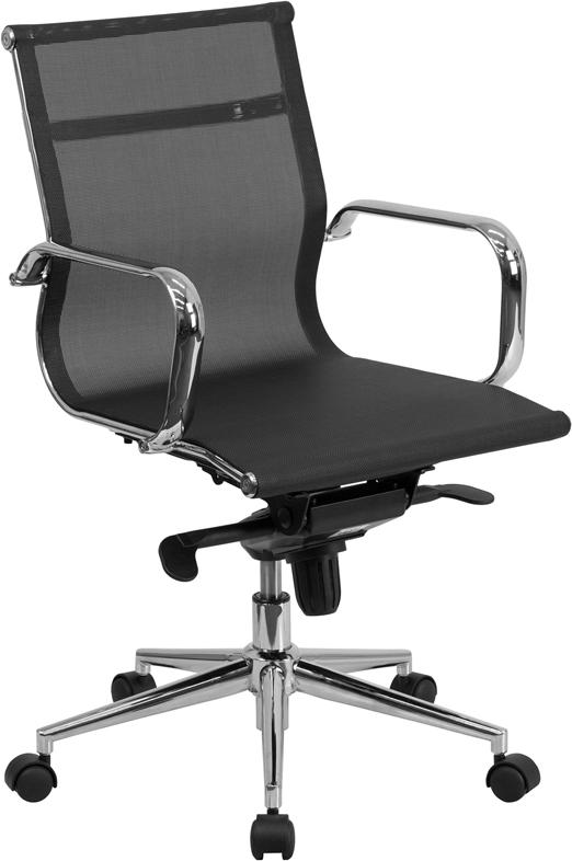 Commercial Grade Mid-Back Transparent Black Mesh Executive Swivel Office Chair with Synchro-Tilt Mechanism and Arms