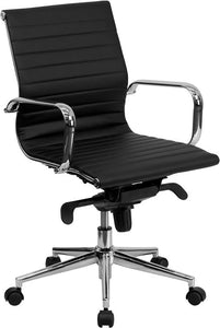 Commercial Grade Mid-Back Black Ribbed Bonded Leather Swivel Conference Office Chair with Knee-Tilt Control and Arms
