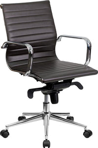 Commercial Grade Mid-Back Brown Ribbed Bonded Leather Swivel Conference Office Chair with Knee-Tilt Control and Arms
