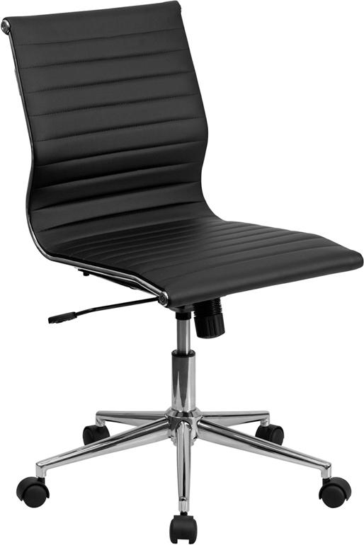 Commercial Grade Mid-Back Armless Black Ribbed Bonded Leather Swivel Conference Office Chair