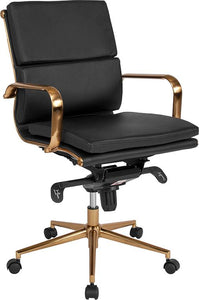 Commercial Grade Mid-Back Black Bonded Leather Executive Swivel Office Chair with Gold Frame, Synchro-Tilt Mechanism and Arms