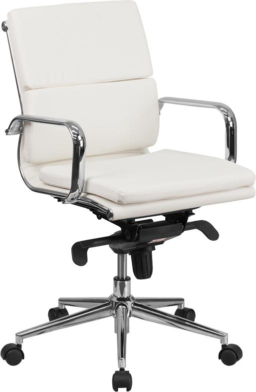 Commercial Grade Mid-Back White Bonded Leather Executive Swivel Office Chair with Synchro-Tilt Mechanism and Arms