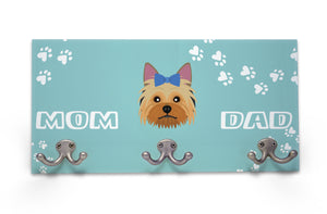 Wall Mounted Coat Rack - Yorkshire Terrier - Blue Bow