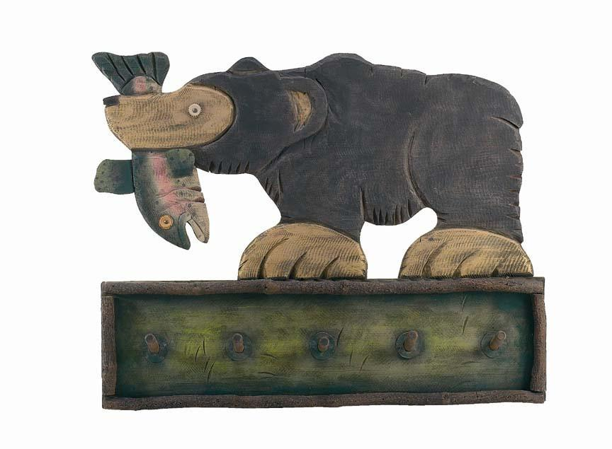 Large Trout and Bear Wall Coat Rack - 40