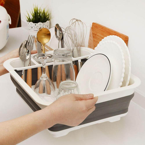 Collapsible Dish Drainer (Free Food Scissor and Garlic Press)