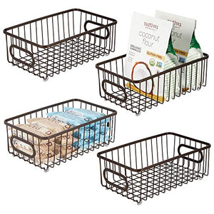 mDesign Metal Farmhouse Kitchen Pantry Food Storage Organizer Basket Bin – Wire Grid Design – for Cabinets, Cupboards, Shelves, Countertops, Closets, Bedroom, Bathroom – Small Wide, 4 Pack – Bronze