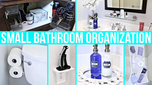 How to organize a small bathroom to maximize your space! Including: under the sink organization, shower organization, toiletries organization and more! CLICK ...