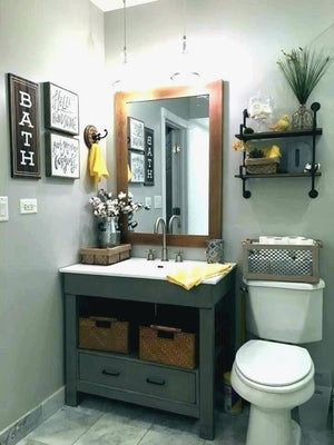 Hot Yellow And Gray Bathroom Decor