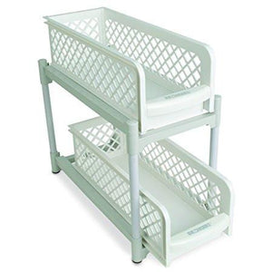 "15"" Versatile 2 Tier Portable Sliding Basket Drawers."