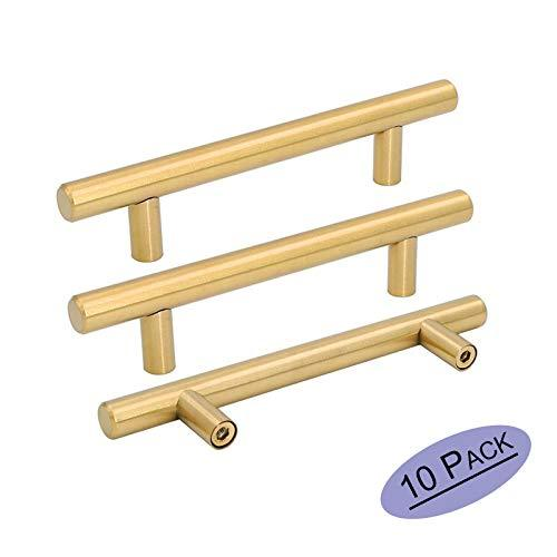 10Pack 3.5 Inch Drawer Pulls Gold Cabinet Handles Kitchen Hardware - Goldenwarm Ls201Gd90 Brushed Brass Dresser Knobs Bathroom Cabinet Pulls Stainless Steel