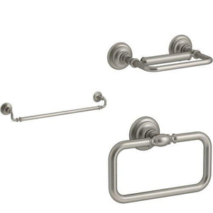 KOHLER Artifacts 3-Piece Bath Accessory Set with 24 in. Towel Bar - Brushed Nickel