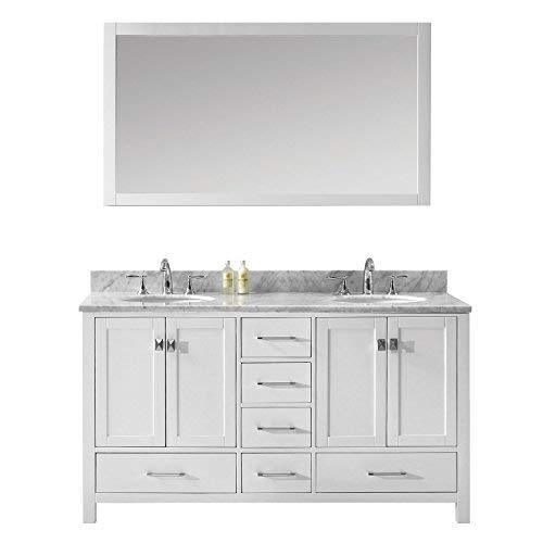 Shop here virtu usa caroline avenue 60 inch double sink bathroom vanity set in white w round undermount sink italian carrara white marble countertop no faucet 1 mirror gd 50060 wmro wh