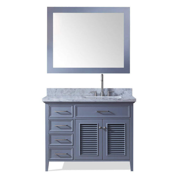 Save ariel d043s r gry kensington 43 inch right offset single sink bathroom vanity set in grey with carrara marble countertop