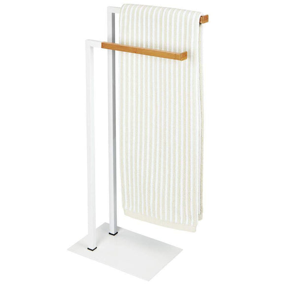Get mdesign tall modern metal and bamboo wood towel rack holder 2 tier organizer for bathroom storage and organization next to tub or shower holds bath hand towels washcloths white natural
