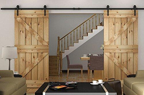 Shop here hd abd powder coated steel modern barn wood sliding door hardware track kit for storage room laundry room master bathroom walk in closet office shutters high mobility areas double door 15ft 4600mm black