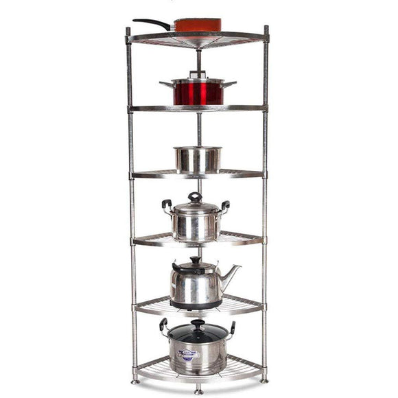Exclusive ddshelf vertical shelf stainless steel kitchen triangle rack corner rack put pot shelf storage supplies floor multi storey office bathroom adjustable display stand color 6tier size 4040cm