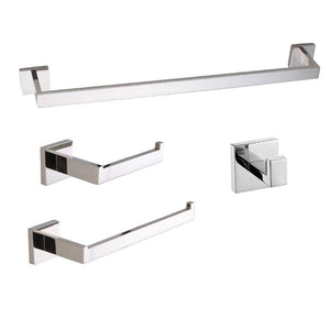 Save luckin towel bar set chrome polish modern bathroom accessories set silver hardware bath towel rack set with toilet paper holder 4 pcs