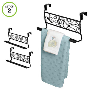 Evelots Over Cabinet Door Towel Bar-Bathroom-Kitchen-No Installation-Black-Set/2