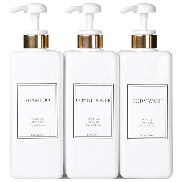 Purchase harra home modern gold design pump bottle set 27 oz refillable shampoo and conditioner dispenser empty shower plastic bottles with pump for bathroom lotion body wash massage oils pack of 3 white