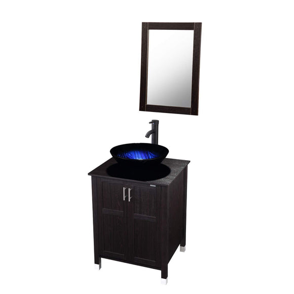 Select nice modern bathroom vanity and sink combo stand cabinet with vanity mirror single mdf cabinet with blue glass vessel sink round bowl