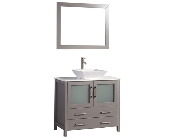 Amazon best vanity art 30 inch single sink bathroom vanity combo free mirror compact 2 door 2 drawer bathroom cabinet white ceramic top gray va3130