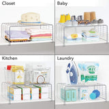 Home mdesign modern versatile metal closet cabinet organizer storage 2 tier shelf divider and separator for bedrooms bathrooms entryways hallways kitchen pantry office easy install 2 pack chrome
