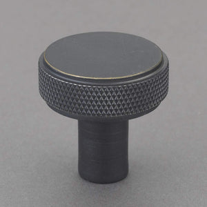 "Belle Knurled 1.25"" Knob Pulls Handle Hardware Bronze Finish Great for Kitchen or Bathroom Cabinets, Drawers, Dressers, and More! - P100-13/4543"