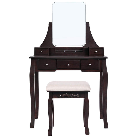 Shop for vasagle vanity table set with large frameless mirror makeup dressing table set for bedroom bathroom 5 drawers and 1 removable storage box cushioned stool walnut urdt25wn