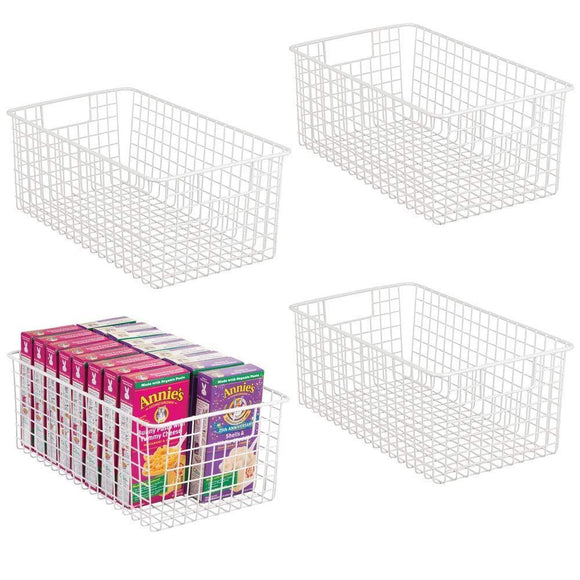 Storage organizer mdesign farmhouse decor metal wire food organizer storage bin basket with handles for kitchen cabinets pantry bathroom laundry room closets garage 16 x 9 x 6 in 4 pack matte white
