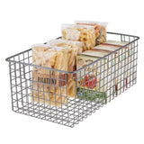 Discover the best mdesign farmhouse decor metal wire food organizer storage bin basket with handles for kitchen cabinets pantry bathroom laundry room closets garage 16 x 9 x 6 in 4 pack graphite gray