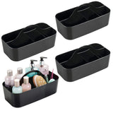 New mdesign plastic portable storage organizer caddy tote divided basket bin with handle for bathroom dorm room holds hand soap body wash shampoo conditioner lotion large 4 pack black