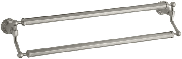 KOHLER K-13117-BN Pinstripe 24-Inch Double Bathroom Towel Bar, Vibrant Brushed Nickel