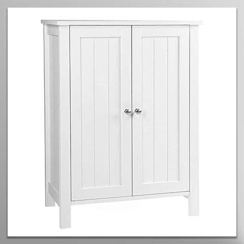 "Bathroom Floor Storage Cabinet with Double Door Adjustable Shelf, 23.6""L x 11.8""W x 31.5""H"