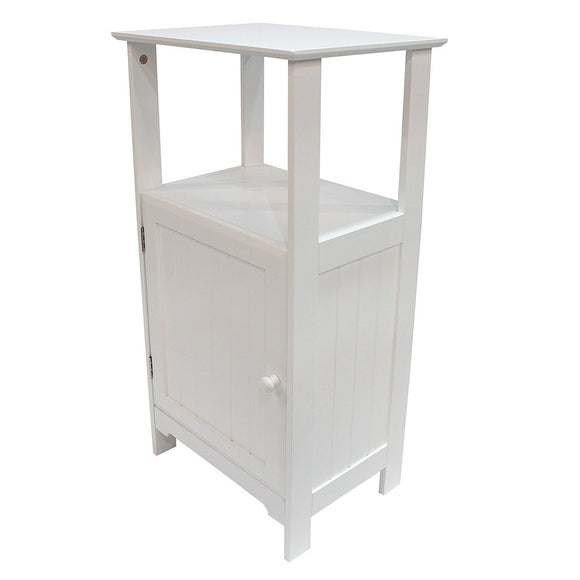 Adeco Free-Standing 3-Shelf Bathroom Cabinet, White