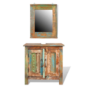 Festnight 24 Inches Bathroom Vanity Set Solid Reclaimed Wood Cabinet with Square Mirror Set Pure Handmade Style 1